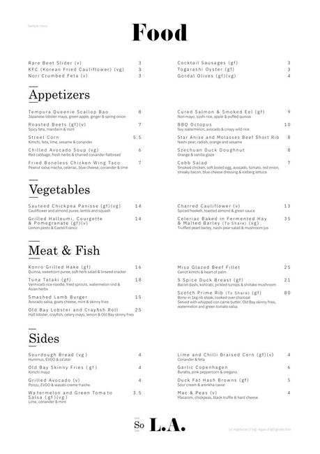 Menus for So L.A. Released