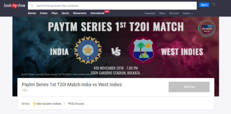 Tickets For 1st International T-20 Match Is Available In PayTm & Bookmy Show!