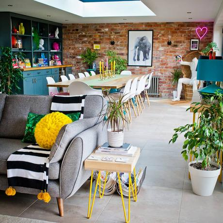 Colourful and quirky open plan living and dining room