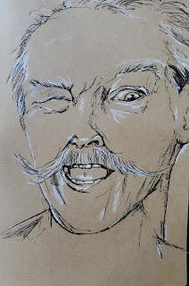 DRAWING A PORTRAIT - Ink & Watercolor Sketching on Kraft Toned Paper