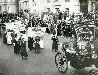 Image: Unknown artist, Suffragette Mothers on the March in New York, Silver Gelatin Print 8 ½ x 9 5/16 inches 2.14.12 [PR068, Box 10, Folder: People: Women: Suffrage (1)] New-York Historical Society