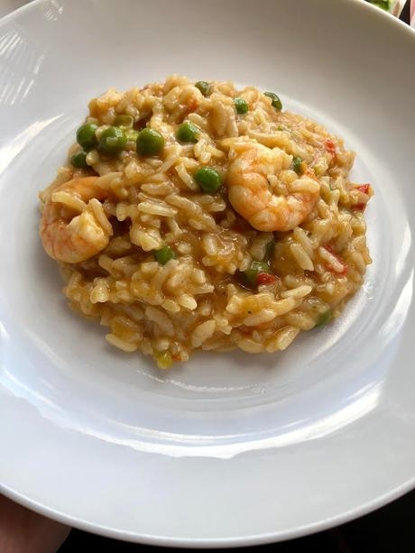 Instant Pot Prawn, Trout and Pea Risotto