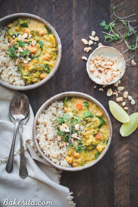 This Broccoli Chickpea Curry is a dinner staple that's so quick and easy to make! It's loaded with veggies and protein and has a secret ingredient to make it extra rich + creamy. It's gluten-free and vegan, too.