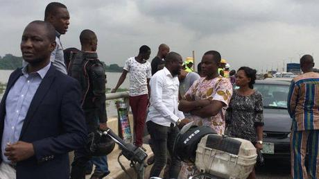 Black Friday: Driver Parks his Loaded Bus Jumps Into Lagos Lagoon This Morning (Photos)