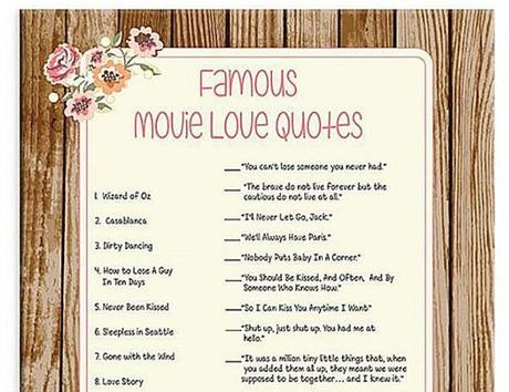 bridal shower games movie quotes game printable
