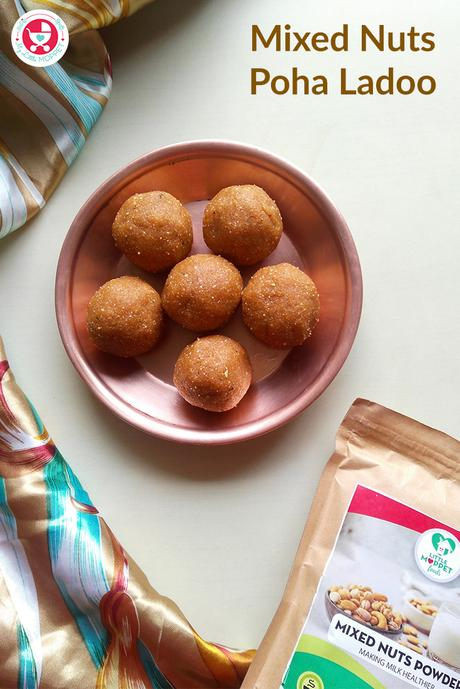 This Mixed Nuts Poha Ladoo recipe is the perfect healthy treat, made with organic jaggery and 100% natural mixed nuts powder!
