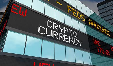 Crypto Currency ICO Blockchain Funds Financing Stock Market Ticker 3d Illustration
