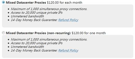 Mixed data center Rotating HTTPS Proxies