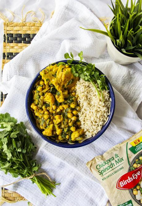 Chickpea & Spinach Coconut Curry with Chickpea Dumplings - Vegan Recipe with Birds Eye