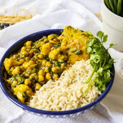 20-Minute Chickpea & Spinach Coconut Curry with Chickpea Dumplings | Vegan Recipe