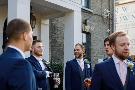the groom outside the georgian townhouse