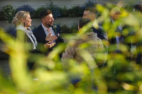 weddings guests in the beer garden