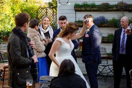 the bride walks through