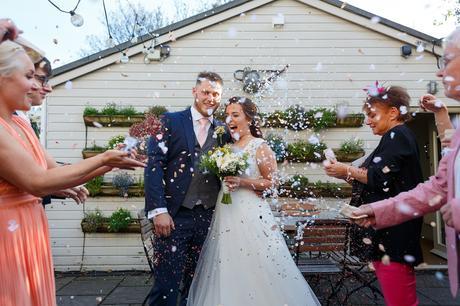 confetti after a georgian townhouse wedding