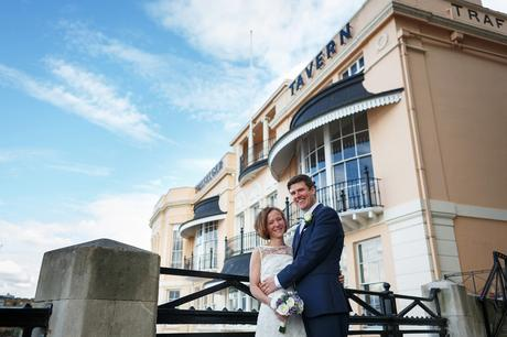 bride and groom outside their trafalgar tavern wedding
