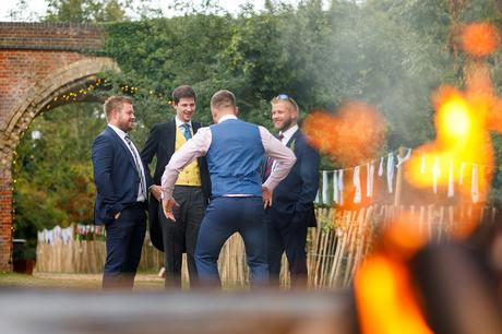 the groom and his friends outside