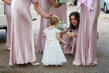 greeting the flower girl