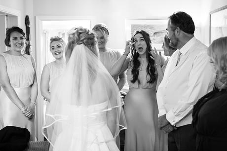 emotional scenes as the bridesmaids see the dress for the first time