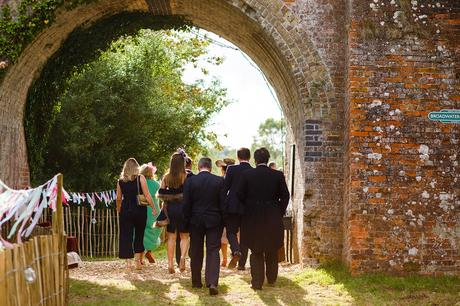 guests arriving under the railway arch