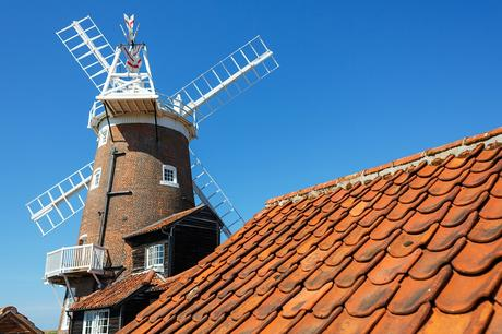 cley mill from over a rooftop