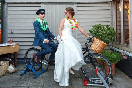 bride and groom on the tandem bike