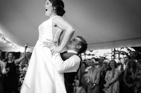 first dance at a summer marquee wedding