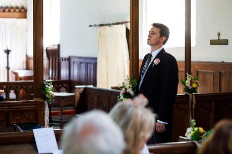 the groom waiting inside pennard church