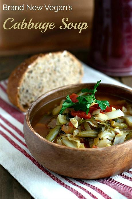I hear people say how expensive it is to eat Vegan.  I beg to differ - a head of cabbage and a few vegetables are all you need to make this delicious Vegan Cabbage Soup.
