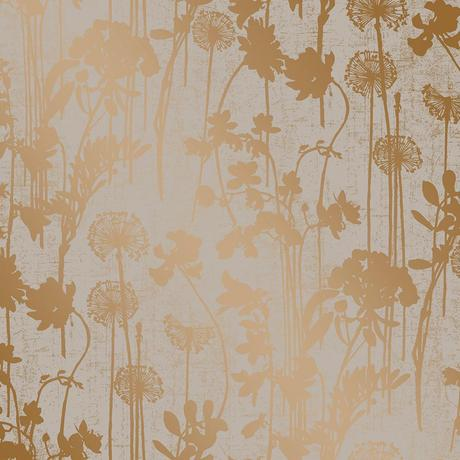 Distressed Floral Wallpaper in Grey and Metallic Copper design by Tempaper