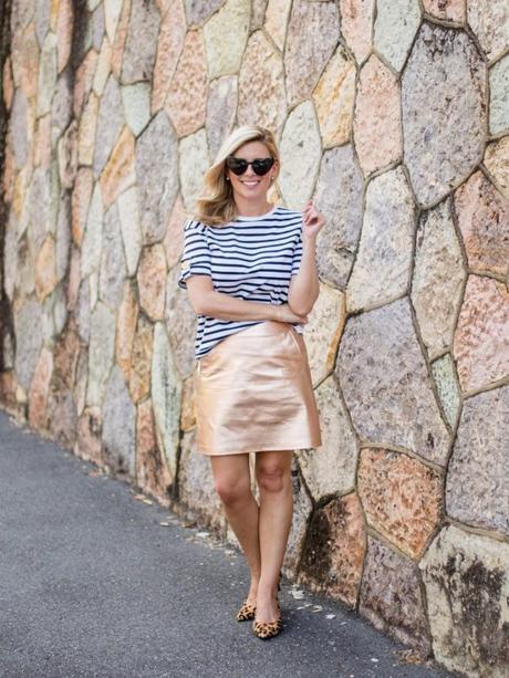 Three ways to wear a metallic skirt this summer