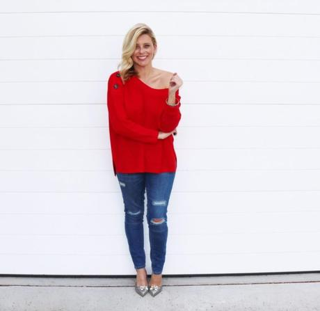 One item, three ways: The red knit sweater