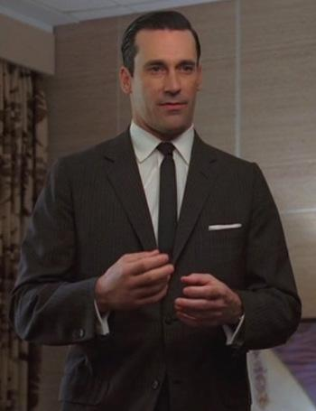 Don Draper's Brown Striped Suit for Thanksgiving 1960