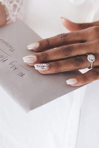 real wedding photography white nails with rhinestones and round diamond ring stanlo photography