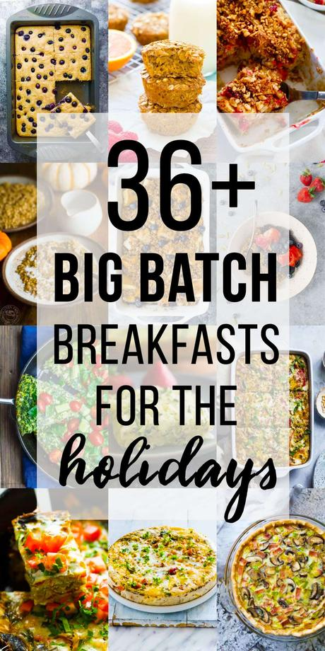 collage image with 36 big batch christmas breakfast ideas for the holidays