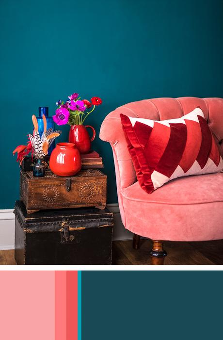 Richly hued teal and pink color palette idea for interiors
