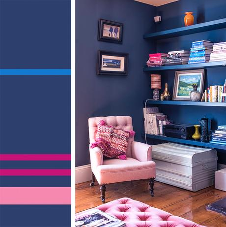 Blue and pink decor inspiration and color palette idea
