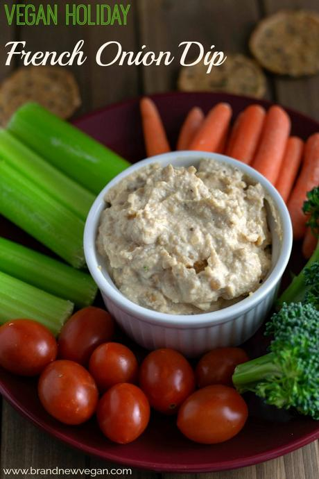 This Vegan French Onion Dip is  perfect for those Holiday Veggie Trays or as a dip to my homemade Potato Chips.  No weird ingredients either!