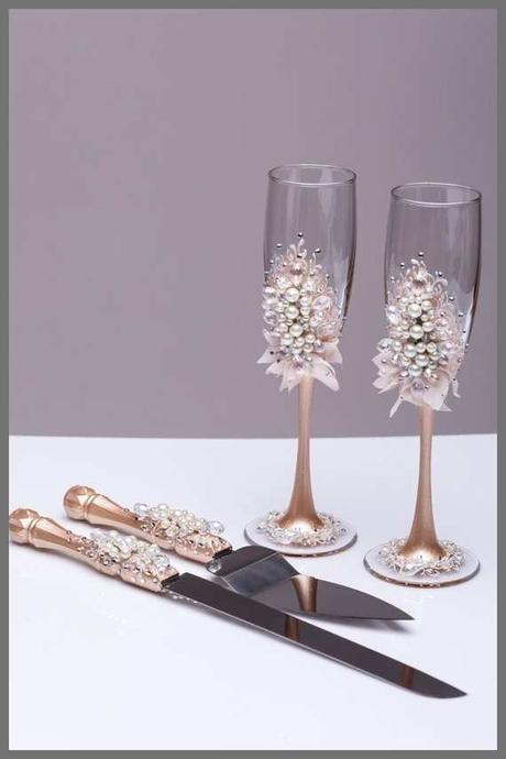 82 Pretty Images Of Wedding Champagne Flutes and Cake Server Sets