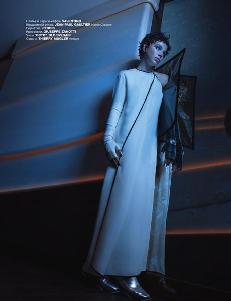 "Alexis Kapaun in Deep Space on the Space Ship ""Encounter"" for Numéro Russia by Benjamin Kanarek"
