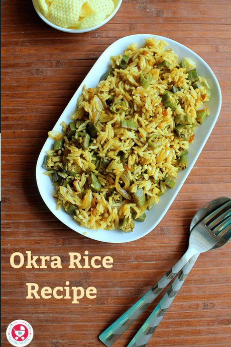 Okra rice is a simple and delicious rice dish prepared with okra, rich in potassium, Vitamins and calcium. Perfect way to get fussy eaters to eat veggies!