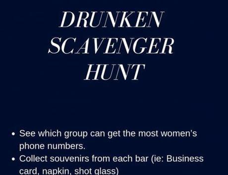 bachelor party games drunken scavenger hunt