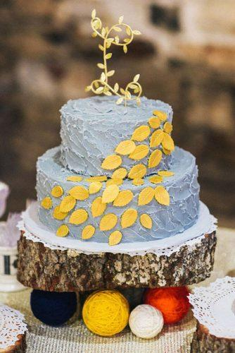 wedding colors 2019 rustic autumn bridal cake with gray buttercream and mustard yellow leaves kyle hale