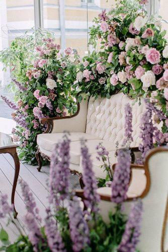 wedding colors 2019 crocus lavender flowers and white roses decorate lounge zone peonystudio
