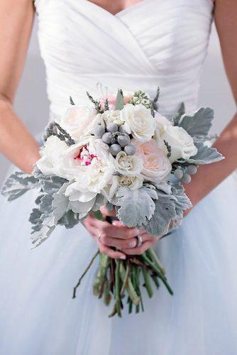 wedding colors 2019 gray leaves and white blush roses in bridal bouquet jamie reinhart photography