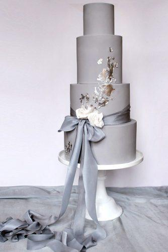 wedding colors 2019 gray tall bridal cake with ribbons and gold foil wildflower_cakes