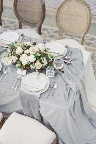 wedding colors 2019 bridal table gray tablecloth with white flower centerpiece laurenfair