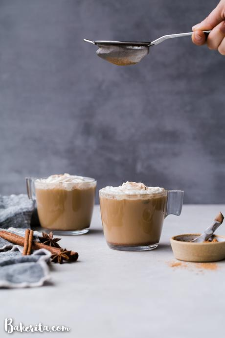 This spicy homemade Vegan Chai Latte is made with almond milk and sweetened naturally with maple syrup. The homemade chai spice mix is full of ginger, cinnamon, black pepper, and other warm spices. It's the perfect drink for chillier days.