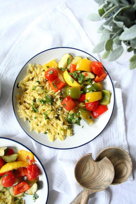 30-Minute Lemon Roasted Vegetables and Orzo Pasta Traybake Vegan Recipe
