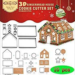 Image: Set of 10 Christmas House Cookie Cutter Set, Bake Your Own Small Gingerbread House Kit, Chocolate House, Haunted House. Gift Box Packaging