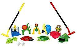 Image: Party Hurray Children Golf Set, with Golf Clubs, Practice Holes, Floral/Animal Obstacles, Golf Balls
